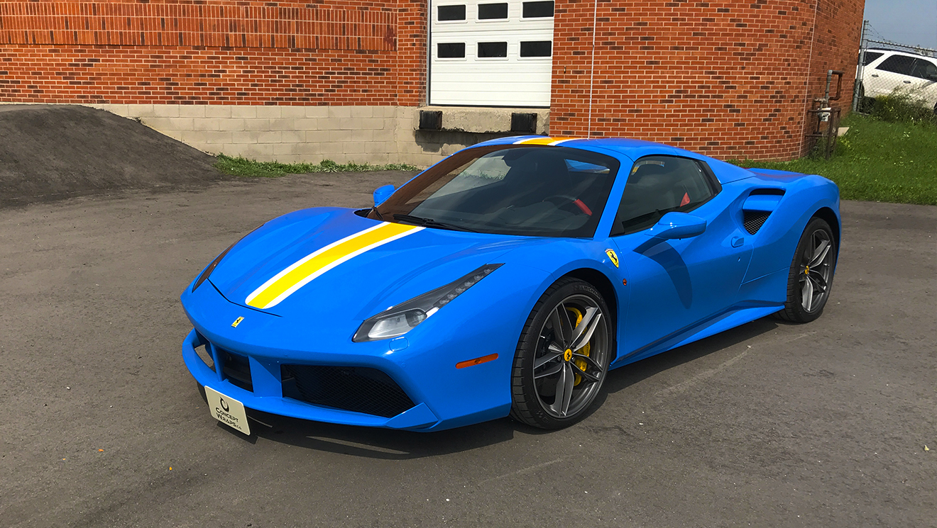Ferrari 488 Spider Light Blue and Stripes